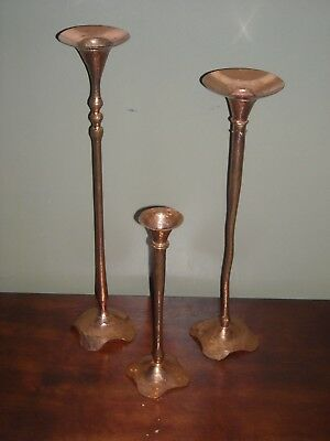 Hessel Studios 3 Vintage Beautiful Tall Hand Forged/Hammered Copper Candlesticks