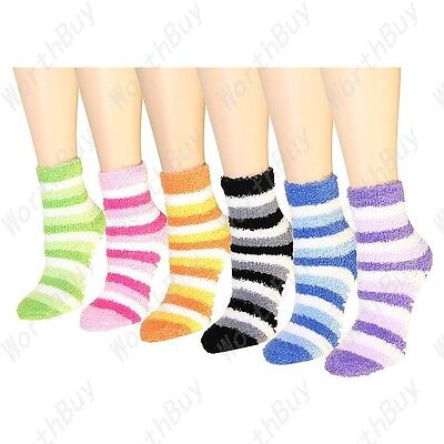 New 6 Pairs Womens Striped Slipper Bed Ankle Socks Soft Cozy Fuzzy Winter Warm