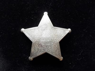 Captain Arizona Rangers Star Badge Old West Western Lawman Shield Law