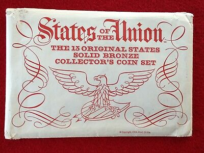 States of the Union - 13 Original States Solid Bronze Coins - Shell Oil Co 1969