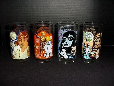 Vintage Star Wars 1977 Burger King Coca Cola Tumbler Glasses Complete Set of 4