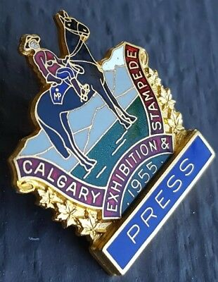 1955 Calgary Exhibition And Stampede Press Badge RCMP Rider Horse Pony Badge