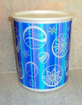 New TUPPERWARE 8c Cookie Canister Christmas Holiday Winter Blue Ornaments Snow