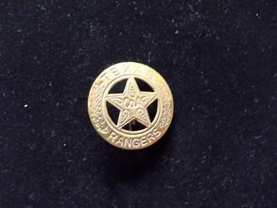 Brass Western Texas Ranger Company A Badge Circle Star Law Pin Pinback Western
