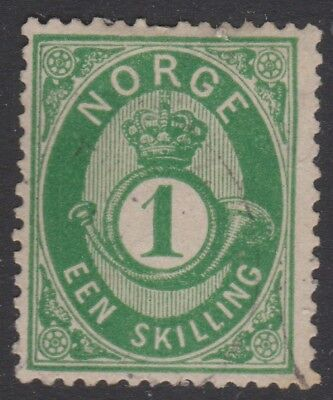 NORWAY, 1871 1sk DEEP GREEN, SG31 VERY FINE USED, SIGNED SCHENK