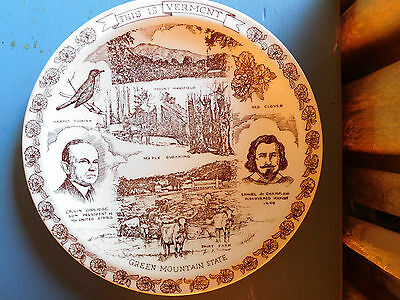 Vintage Vernon Kilns This Is Vermont State Collectors Brown Plate