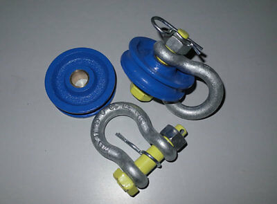 TWO x Winch Snatch Block Pulley 10T (10 ton) QualityPulley & Shackle