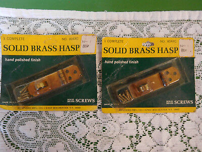 Set of 2  Vtg NOS Solid Antique BRASS Small Hinged HASP w Screws No Hook Lock