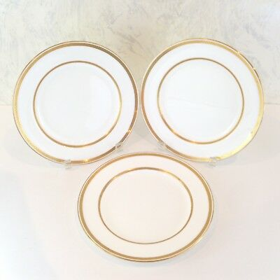 """Set 3 Mintons Tiffany Co New York Salad Plates G8338 White Gold Bands 9"""" Dia"""