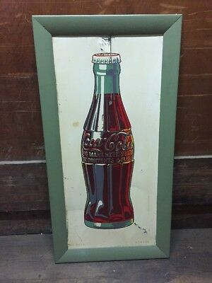 "Vintage 37 X 19"" White Porcelain Tin Framed Coca Cola Bottle Sign RARE 4-40 USA"