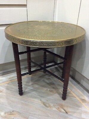 Vintage ,old Brass Top Occasional Table , Mahogany Folding Base