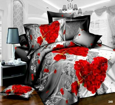 3D Effect 4Pcs Floral Heart Bedding Set Duvet Cover With Fitted Sheet Pillowcase