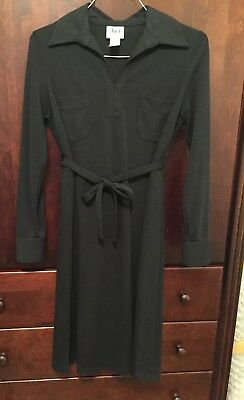 Nwot. Duet Designs Long Sleeve Black Maternity Tie Dress Size Small