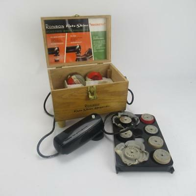 Vintage 1960s Ronson Roto-Shine Magnetic Shoe Polisher in Wooden Box - Untested