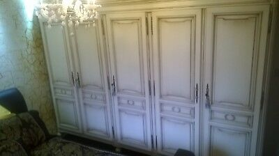 FABULOUS ANTIQUE HUGE 5 door ORIGINAL PAINT French armoire wardrobe shabby chic