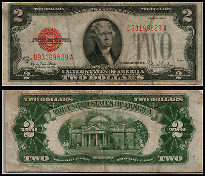 1928G $2 Dollar Bill Old Us Note Legal Tender Paper Money Currency  G615