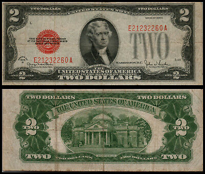 1928G $2 Dollar Bill Old Us Note Legal Tender Paper Money Currency  G616