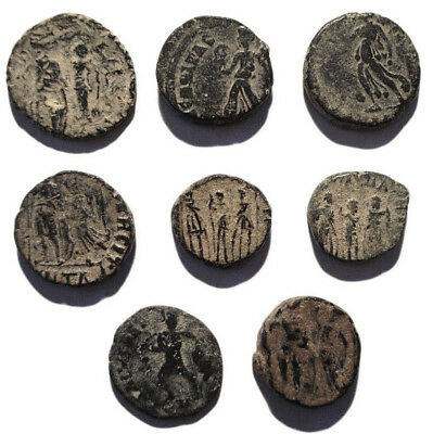 Lot of 8 Æ4 Ancient Roman Bronze Coins from IV.-V. Century