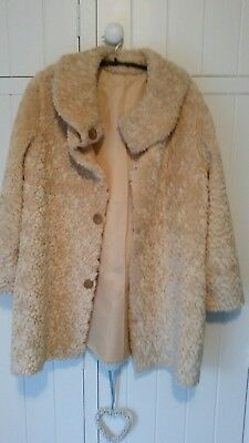 Vintage Faux fur Teddy Bear Coat. Home Made Size 12 14