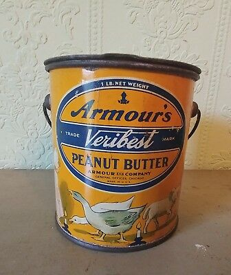 Antique Advertising Armours   Veribest  Peanut Butter Tin Nursery Rhymes Great !