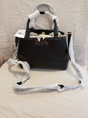 51bf4ae8fd6 MICHAEL KORS FLORENCE Small Black Leather Satchel NWT $298 Retail ...