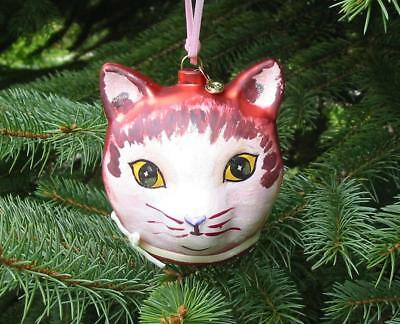 Glitterville Christmas Glass Red Cat Head Ornament Nathalie Lete New
