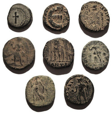 Lot of 8 Æ4 Ancient Roman and Byzantine Bronze Coins from IV.-V. Century