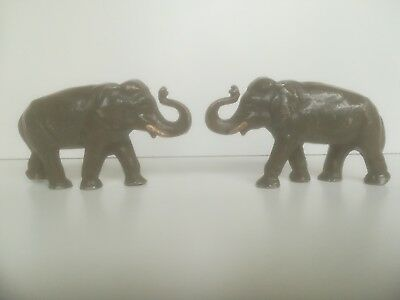 **pair Of Vintage Antique Toy Metal Elephants With Original Paint**