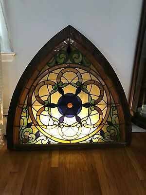 Vintage Arched Stained Glass Church Window Beautiful Colors