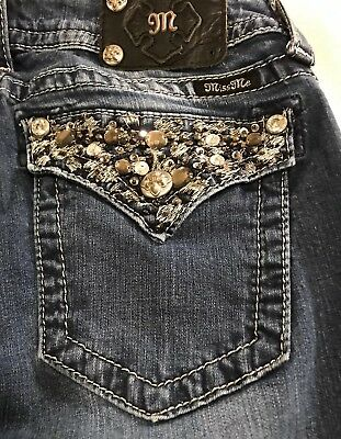 MISS ME Bling Pockets Mid Rise Boot Cut Jeans Tag Size 31 The Buckle Brand