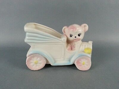 Vintage Planter baby Nursery Bear and Car Collectable Vase Enesco