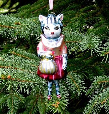 Fab Glitterville Christmas Glass Dressed Lady Cat Ornament Nathalie Lete New