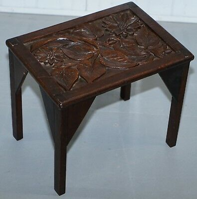 Sweet Little Liberty's London English Oak Small Side Table Hand Carved Floral
