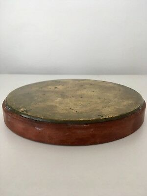 Vintage Red Stone & Brass Stand Base for Glass Dome, Taxidermy, Statue, Clock