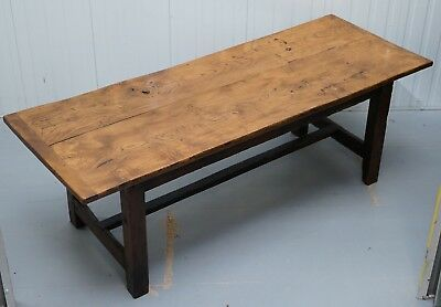 Stunning Rare 18Th Century Solid Elm 2 Plank Top Refectory Dining Table Seats