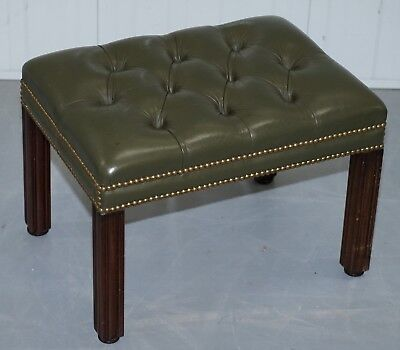 Aged Green Leather Chesterfield Mahogany Framed Footstool For Club Armchairs