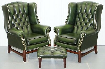 Large Pair Of Luxury Green Leather Chesterfield Wingback Armchairs & Footstool