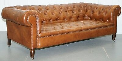 Luxurious Vintage Chesterfield Three Seater Brown Leather Sofa Chrome Castors