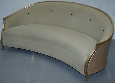 Rrp £12,400 Christopher Guy Suede Leather Upholstery Curved Sofa Gold Leaf Paint