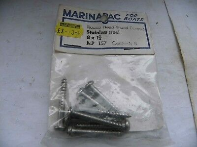 VINTAGE UNUSED PACK OF MARINAPAC FOR BOATS ROUND HEAD WOOD SCREWS - 8x1 1/4""