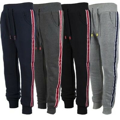 Kids Tracksuit Bottoms Plain Girls Trousers Boys Contrast Stripes Joggers 3-14
