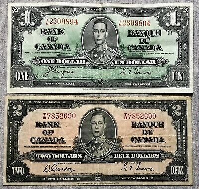 Canada - 1937 - Two notes: $1 (sig. Coyne-Towers) and $2 (sig. Gordon-Towers)