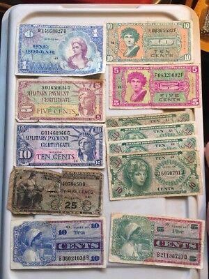 Large Lot Of Military Payment Certificates Ww2 Korea Vietnam Currency Note
