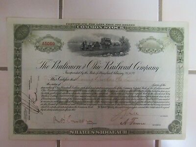 1902 B & O Railroad stock certificate purchased by Baring Bank of England
