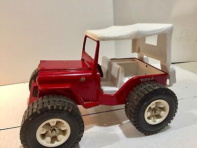 Vintage 1960s Tonka #2445 Jeep Dune Buggy Pressed Steel Red w/White Top