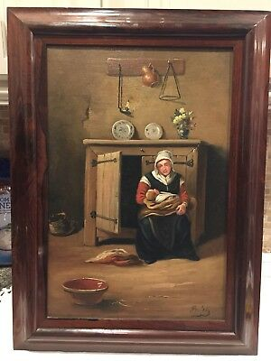 ANTIQUE DUTCH OIL CANVAS PAINTING Mother Child Amazing ROSEWOOD FRAME Old Master