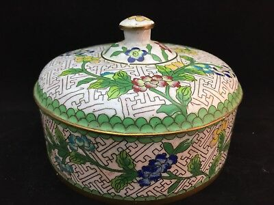 Antique Chinese CLOISONNE enamel Round Box Container CHINA circa 1900