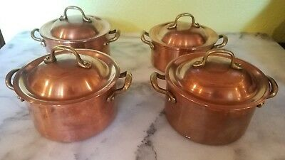 Lot of 4 Copper Small Pots and Lids