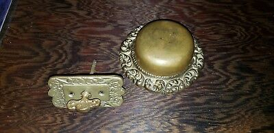 Antique Vintage Old Victorian Brass Door Bell Ringer Twist Key Doorbell
