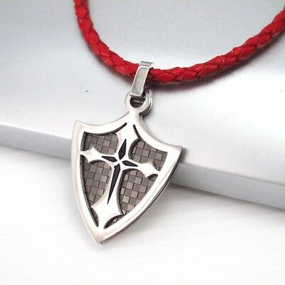 Silver Black Knights Templar Shield Cross Pendant Red Braided Leather Necklace
